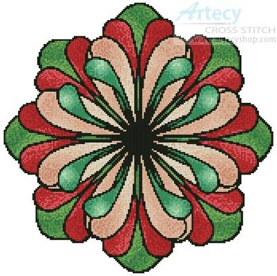 cross stitch pattern Stained Glass Flower