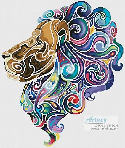 cross stitch pattern Stylized Lion