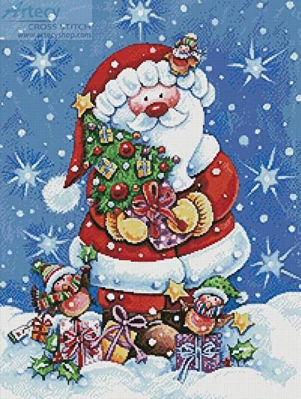 cross stitch pattern Santa with Tree