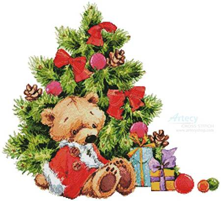 cross stitch pattern Teddy under Christmas Tree