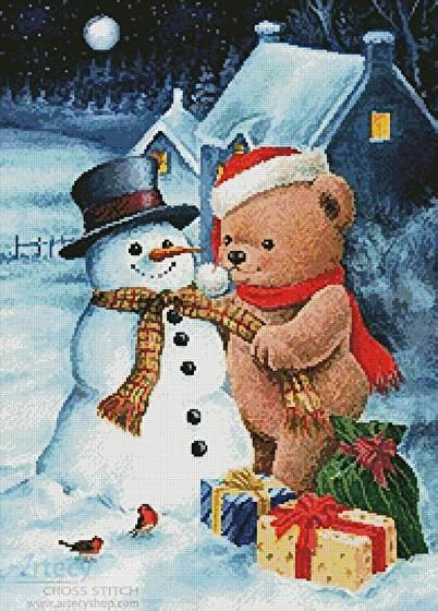 cross stitch pattern Teddy and Snowman