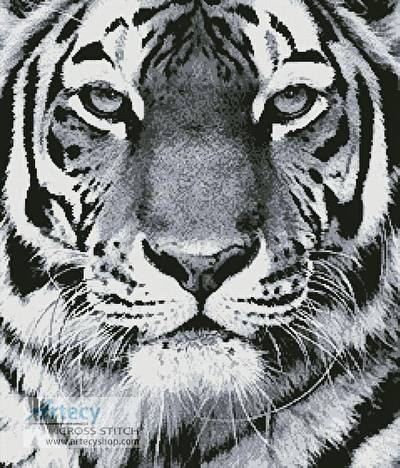 cross stitch pattern Tiger Portrait (Black  White)