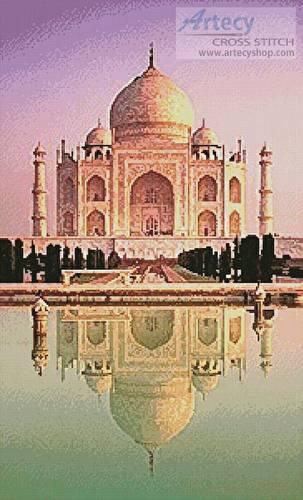 cross stitch pattern Taj Mahal Reflection