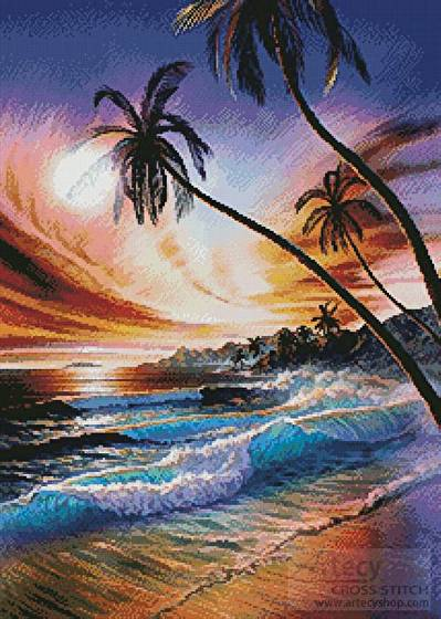 cross stitch pattern Tropical Beach