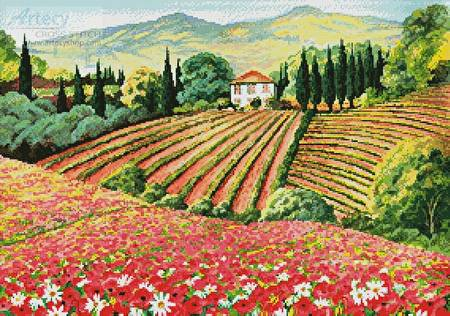 cross stitch pattern Tuscany Terrain