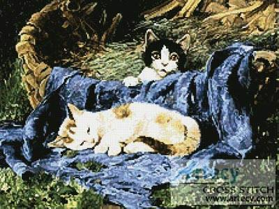 cross stitch pattern Two Kittens