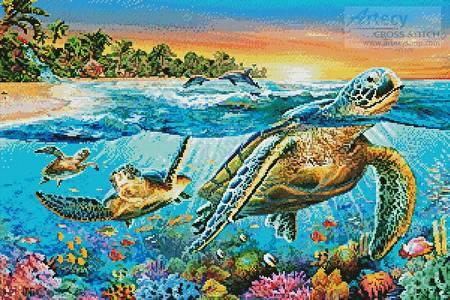 cross stitch pattern Underwater Turtles