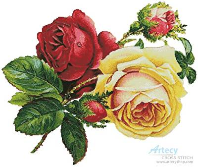 cross stitch pattern Victorian Roses 2