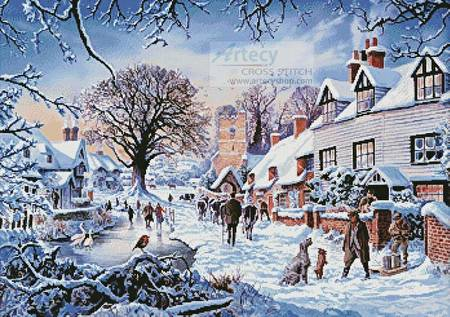 cross stitch pattern A Village in Winter
