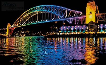 cross stitch pattern Vivid Sydney Harbour Bridge