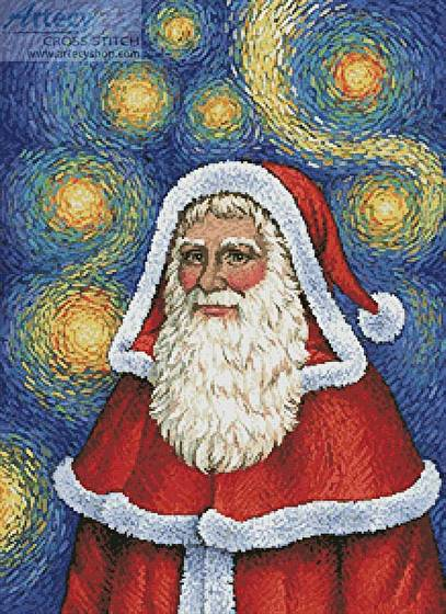 cross stitch pattern Van Gogh Santa