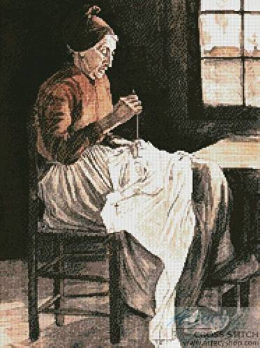 cross stitch pattern Woman Sewing