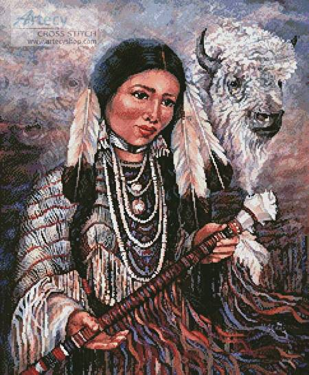 cross stitch pattern White Buffalo Woman