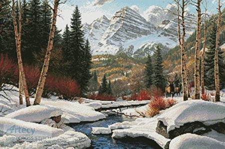 cross stitch pattern Winter Retreat