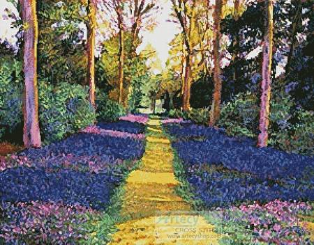 cross stitch pattern Walk through Blue