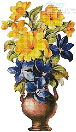 cross stitch pattern Yellow and Blue Flowers
