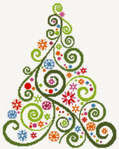 cross stitch pattern Abstract Christmas Tree