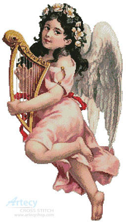 cross stitch pattern Angel with Harp