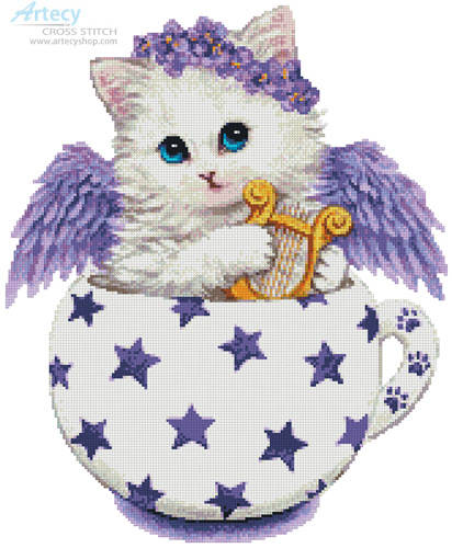 cross stitch pattern Angel Kitty Cup