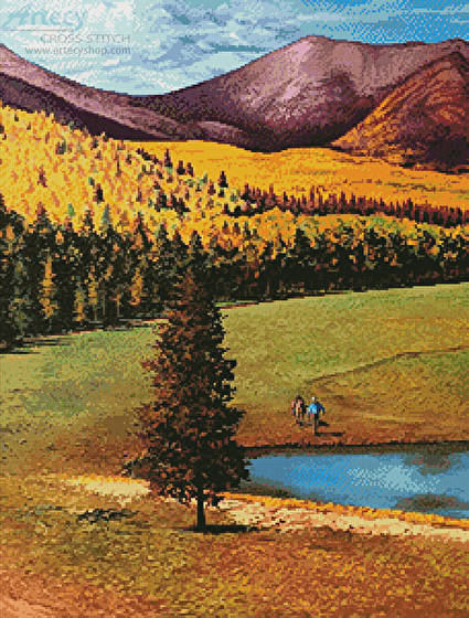 cross stitch pattern Autumn in the San Francisco Mountains
