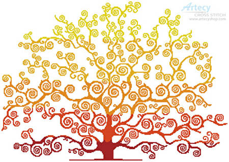 cross stitch pattern Autumn Tree Silhouette