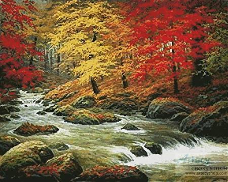 cross stitch pattern Autumn in Boulder Creek