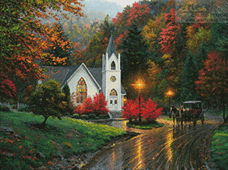 cross stitch pattern Autumn Chapel