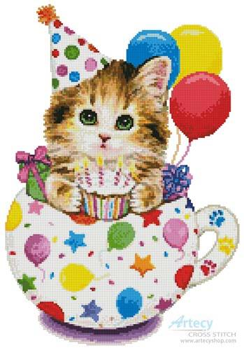 cross stitch pattern Birthday Kitty Cup