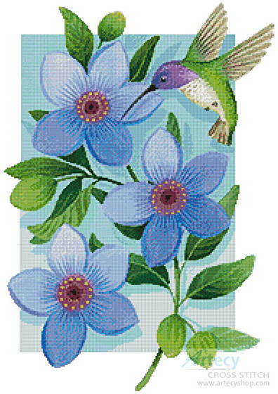 cross stitch pattern Beija Flor Blue