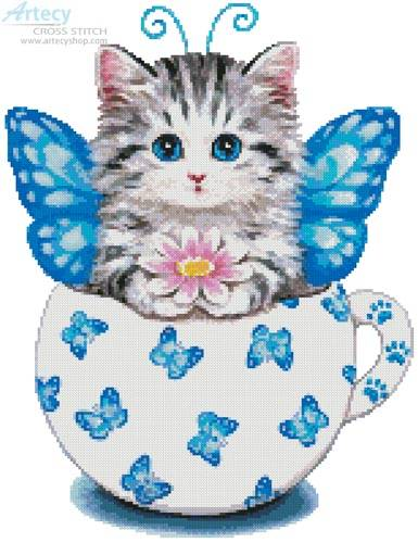 cross stitch pattern Butterfly Kitty Cup