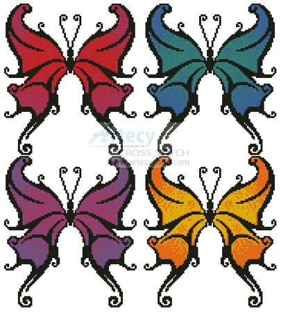 cross stitch pattern Butterfly Swirls