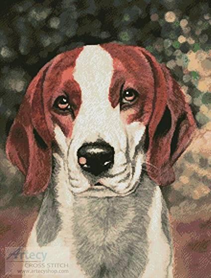 cross stitch pattern Beagle Dog Portrait