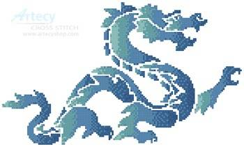 cross stitch pattern Blue Green Dragon