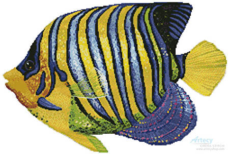 cross stitch pattern Blue and Yellow Fish