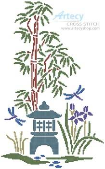 cross stitch pattern Bamboo, Iris and Lantern