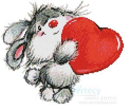 cross stitch pattern Bunny Heart