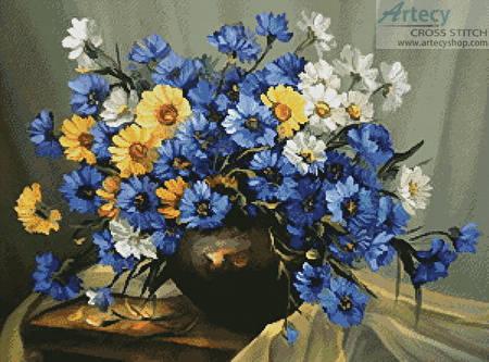 cross stitch pattern Bouquet of Blue