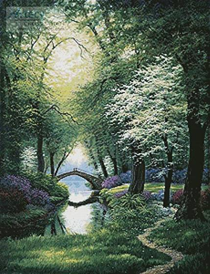 cross stitch pattern Beside still Waters (Spring)