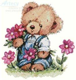 cross stitch pattern Boy Teddy with Flowers