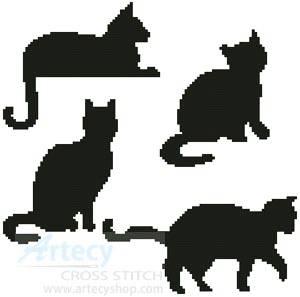 cross stitch pattern Cat Silhouettes