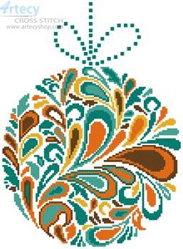 cross stitch pattern Colourful Christmas Bauble 2
