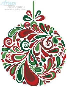 cross stitch pattern Colourful Christmas Bauble 5