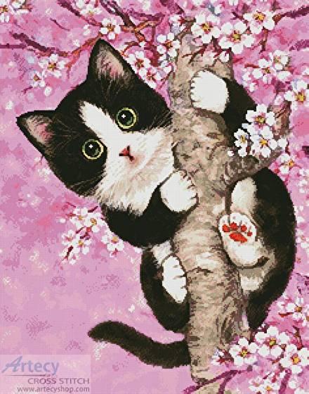 cross stitch pattern Cherry Blossom Cat