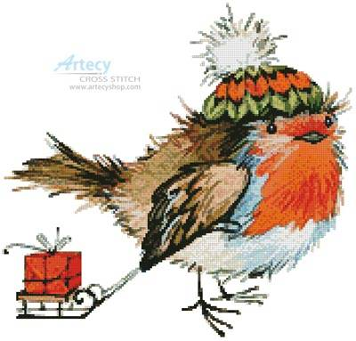 cross stitch pattern Christmas Bird
