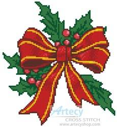 cross stitch pattern Christmas Bow