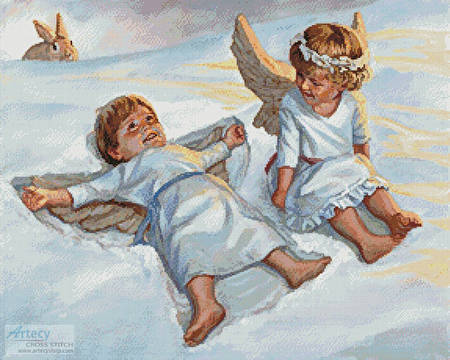 cross stitch pattern Cherubs Snow Angels