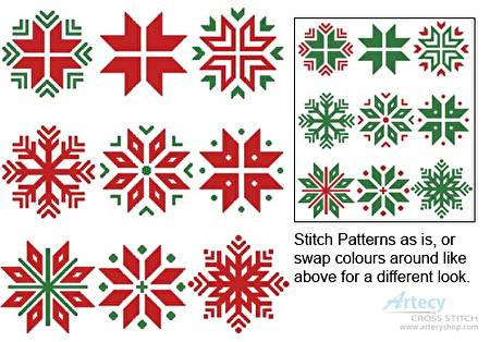 cross stitch pattern Christmas Snowflake Set 1