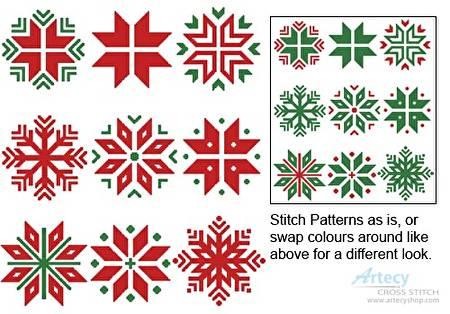 cross stitch pattern Christmas Snowflake Set 1