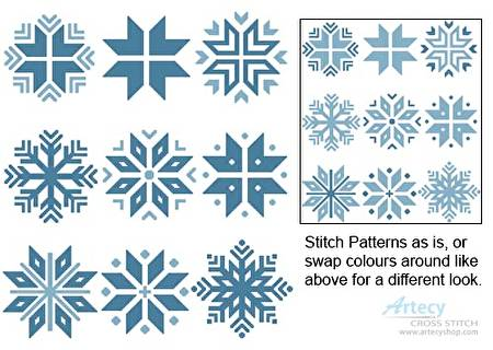 cross stitch pattern Christmas Snowflake Set 2