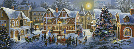 cross stitch pattern Christmas Village